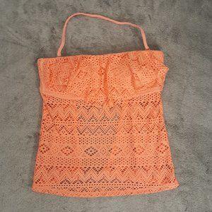 4/$25 Malibu Dream Girl Orange Crochet Ruffle Swim